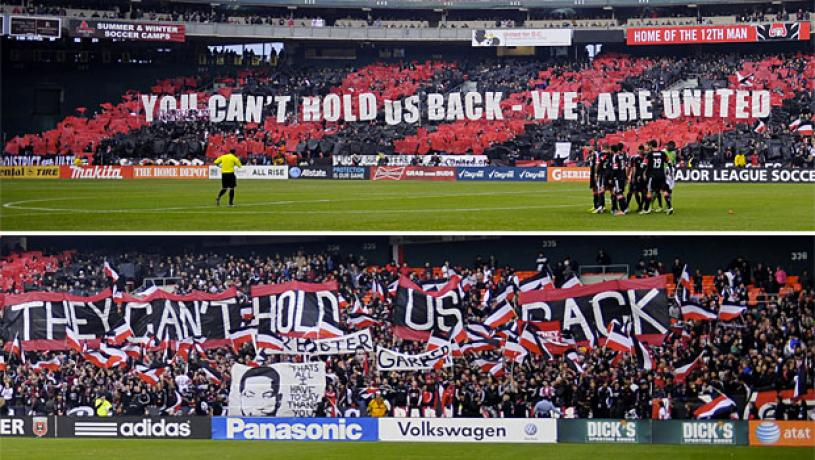The sign of unified supporters groups is doing the same T.I.F.O twice at the same time. next to each other.