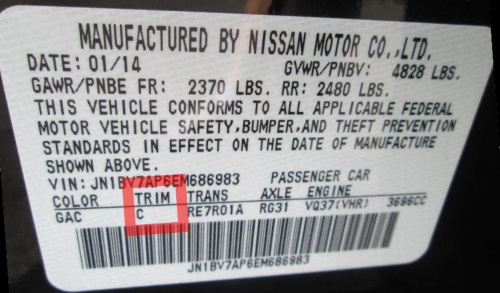 Infiniti  vehicles   usually have the trim code sticker on either the the driver side door   or the driver side door pillar.
