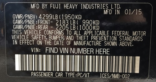 Subaru keeps the trim codes on the VIN sticker affixed to the door jamb. Or it might be a smaller sticker below the VIN sticker.