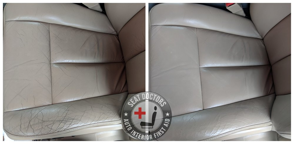 Another simple repair performed with Medium Light Stone leather dye matched to the vehicle. You can order leather touch up dye for your vehicle by following this link:  DIY Leather Dye