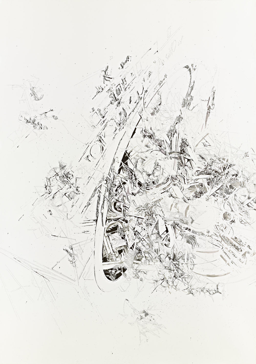 Bettina Krieg | Pxxx  Untitled | Triptych A | Ink & Graphit on Paper | 270x190cm | 2012