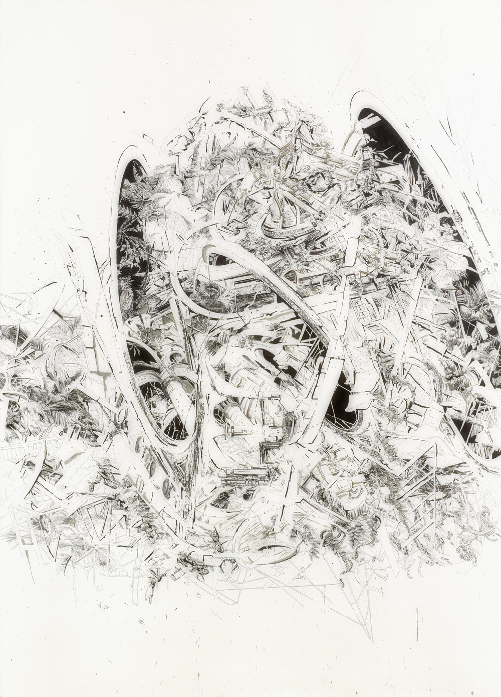 Bettina Krieg | Pxxx Untitled | Triptych B | Ink & Graphit on Paper | 270x190cm | 2012