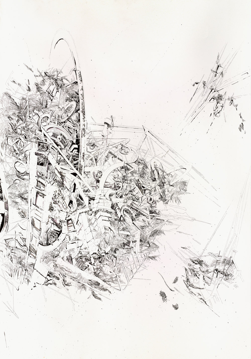 Bettina Krieg | Pxxx Untitled | Triptych C | Ink & Graphit on Paper | 270x190cm | 2012