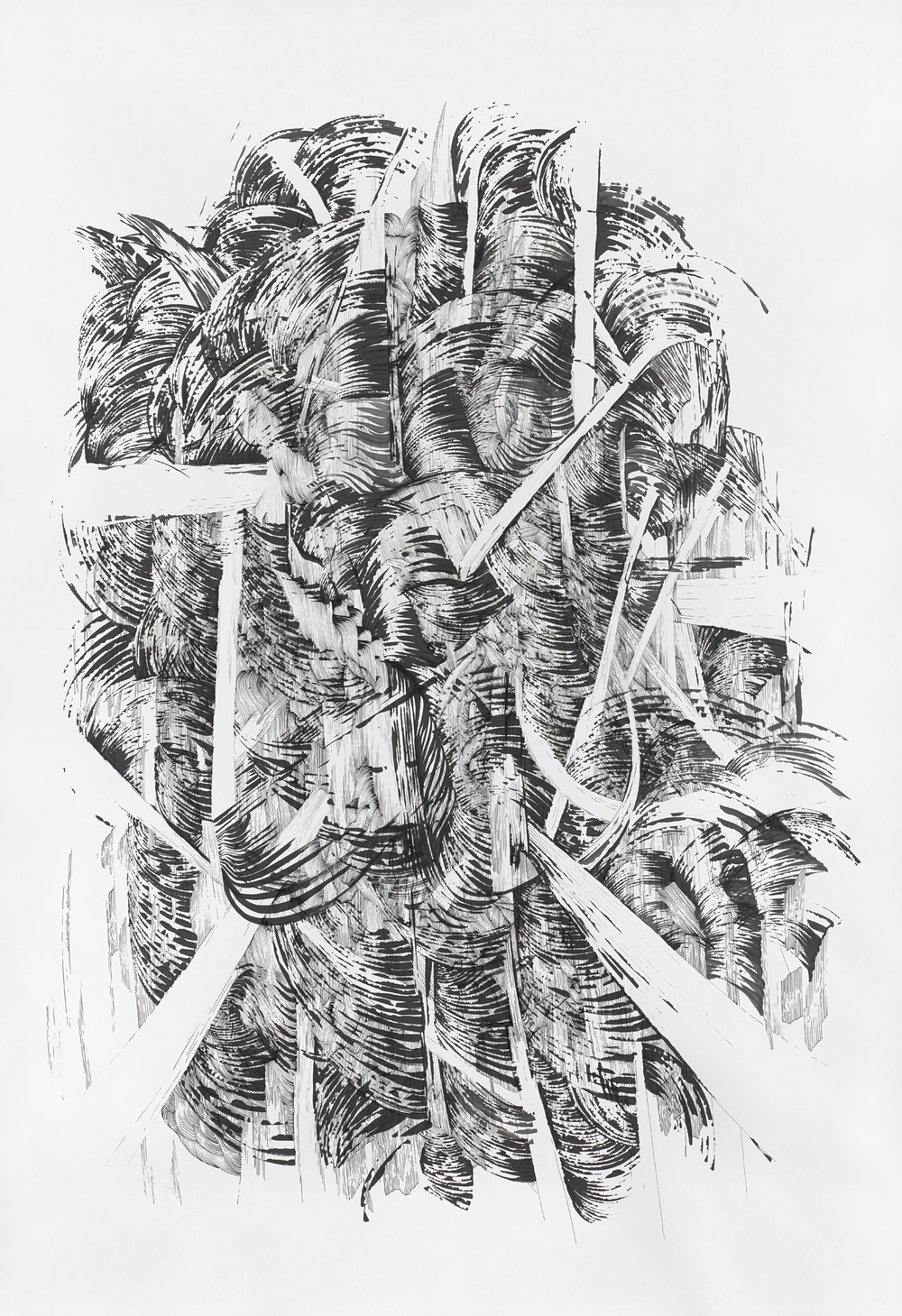 Bettina Krieg | P 164-1 Untitled | Ink on Paper | 200 x 150 cm | 2014