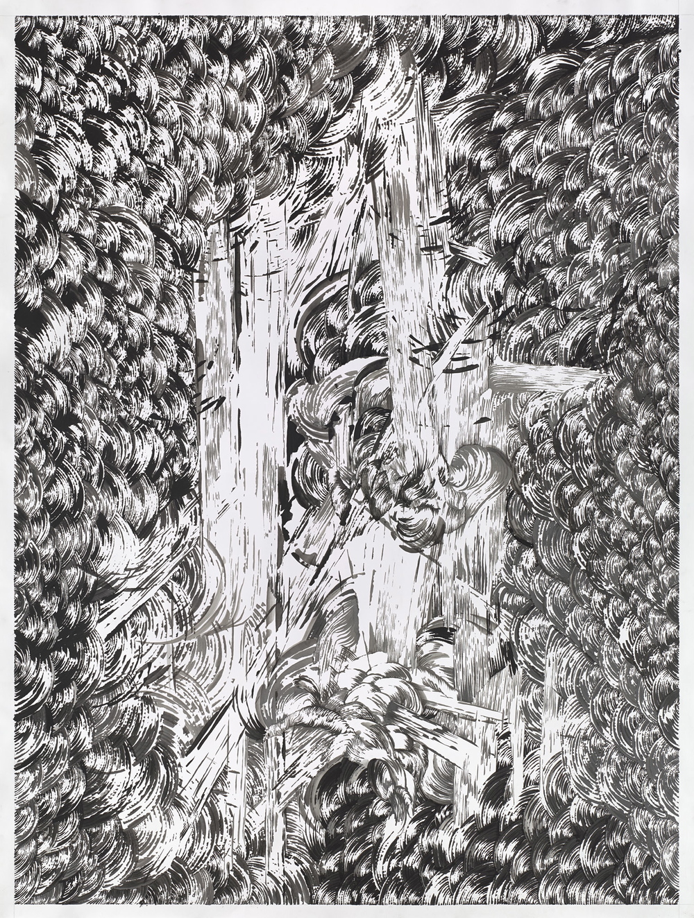 Bettina Krieg | P 164-2 Untitled | Ink on Paper | 200 x 150 cm | 2014