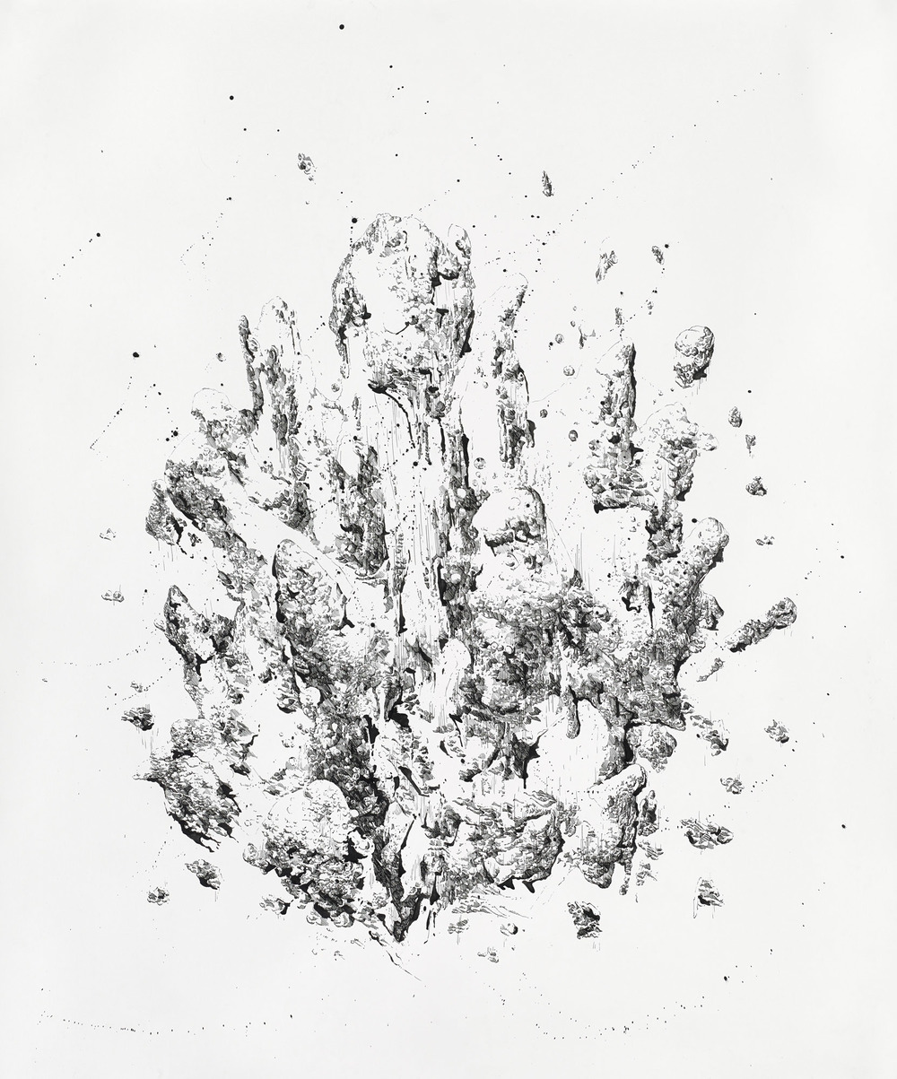 Bettina Krieg | P 160 Untitled | Ink on Paper | 100 x 100 cm | 2014