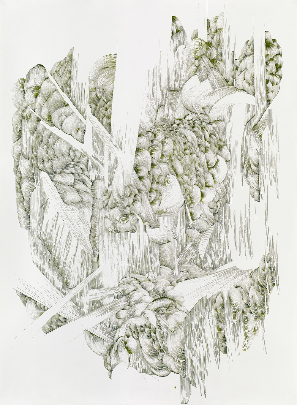 Bettina Krieg | P 130 Untitled | Green Ink on Paper | 120 x 100 cm | 2013