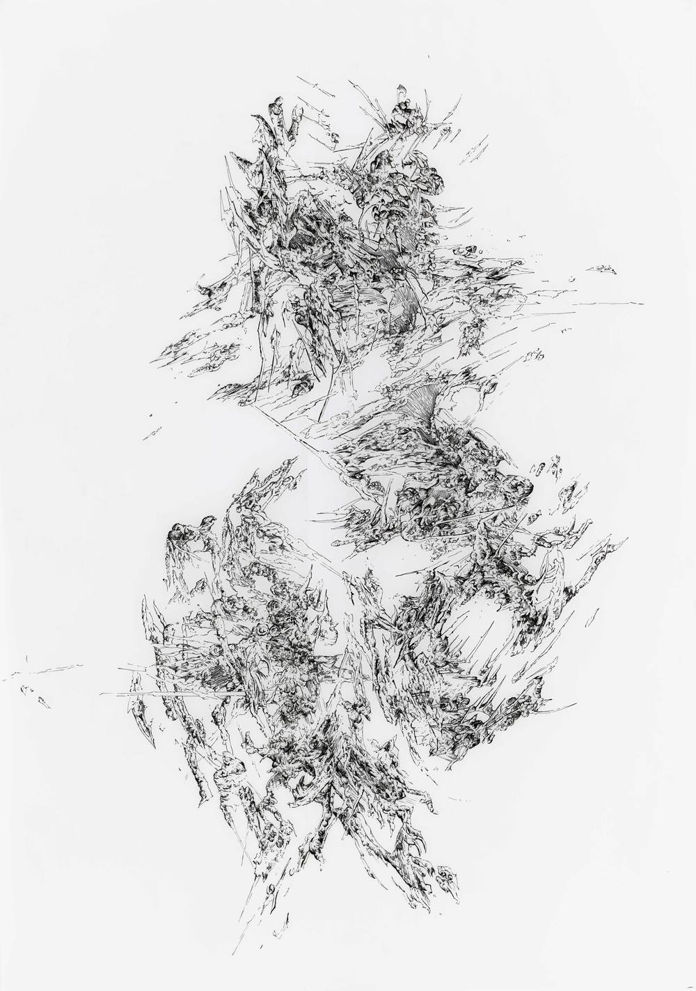 Bettina Krieg | P 104 Untitled | Ink on Transparent Paper | 100 x 70 cm | 2012