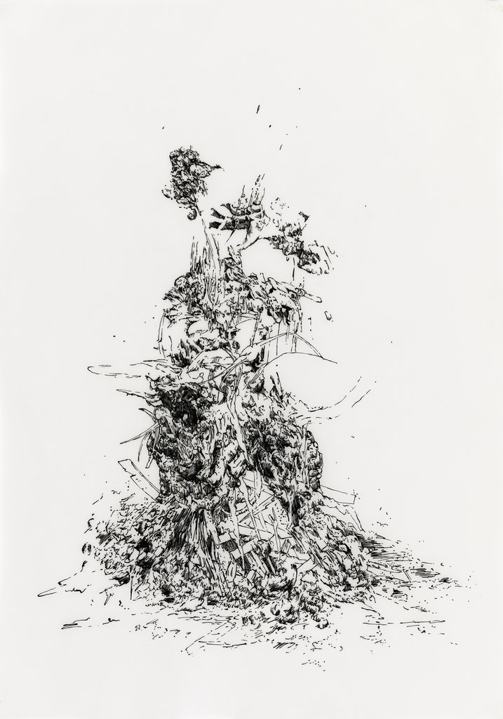 Bettina Krieg | P 102 Untitled | Ink on Transparent Paper | 42 x 29,5 cm | 2012