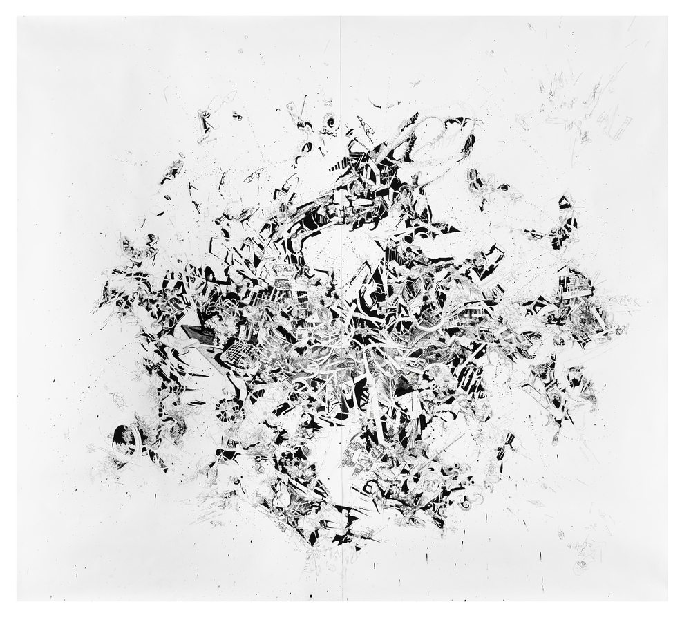 Bettina Krieg | P 77 Untitled | Ink on Paper | 290 x 300 cm | 2011