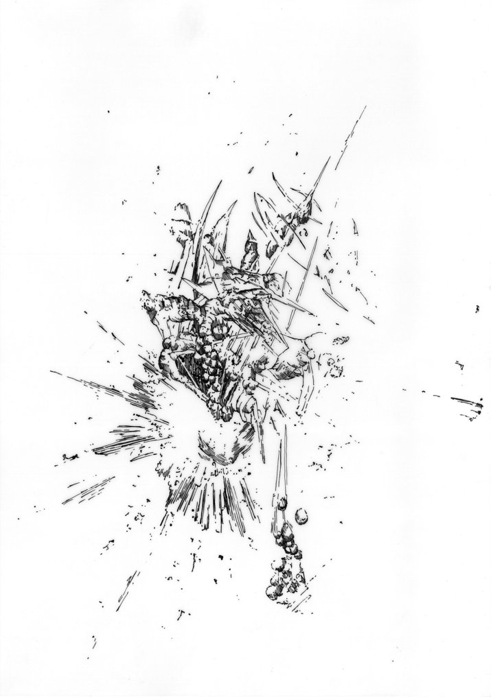 Bettina Krieg | P 116 Untitled | Ink on Transparent Paper | 29 x 21 cm | Framed | 2012