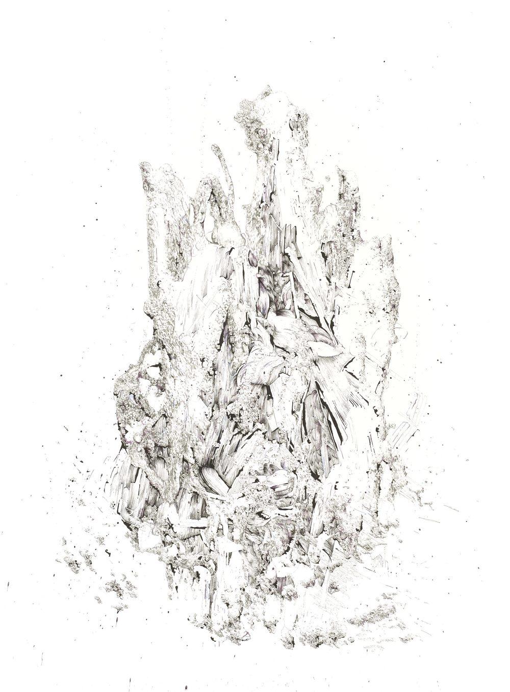 BK P133   untitled   ink & graphit on paper   200x150cm   2013