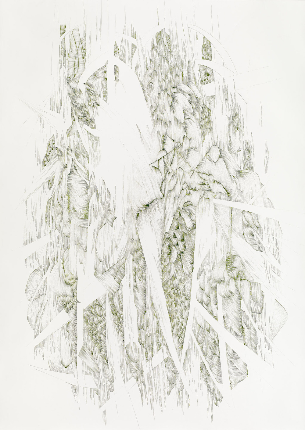 BK P14262   untitled   green ink on paper   270x190cm   2014