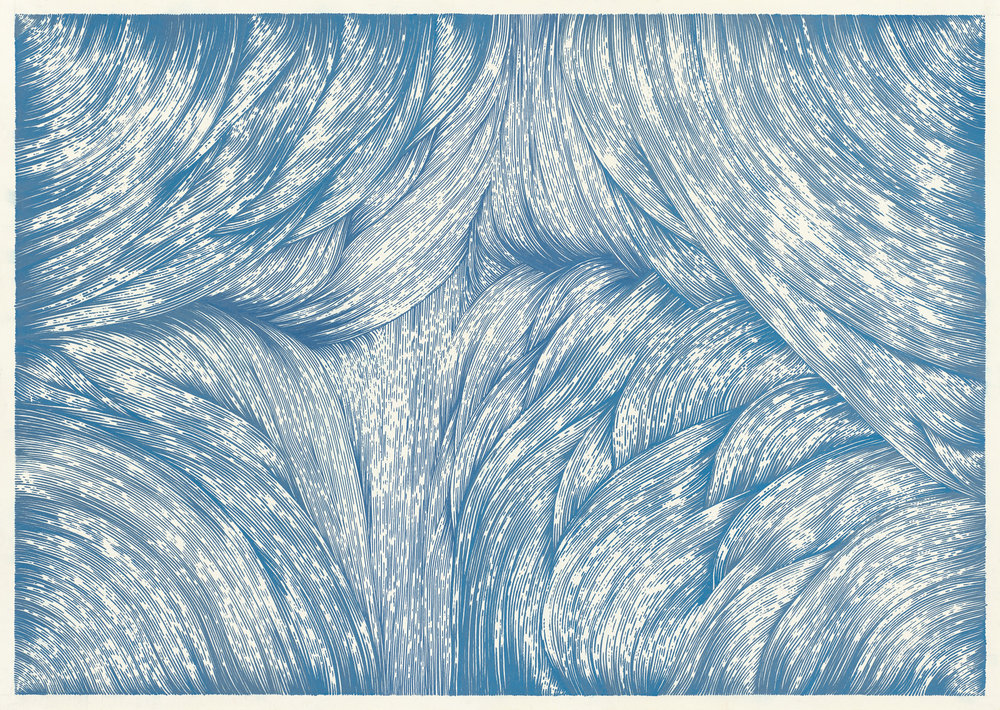 BK P0039 | untitled | blue metallic acryl on paper | 70 x 100cm | 2016