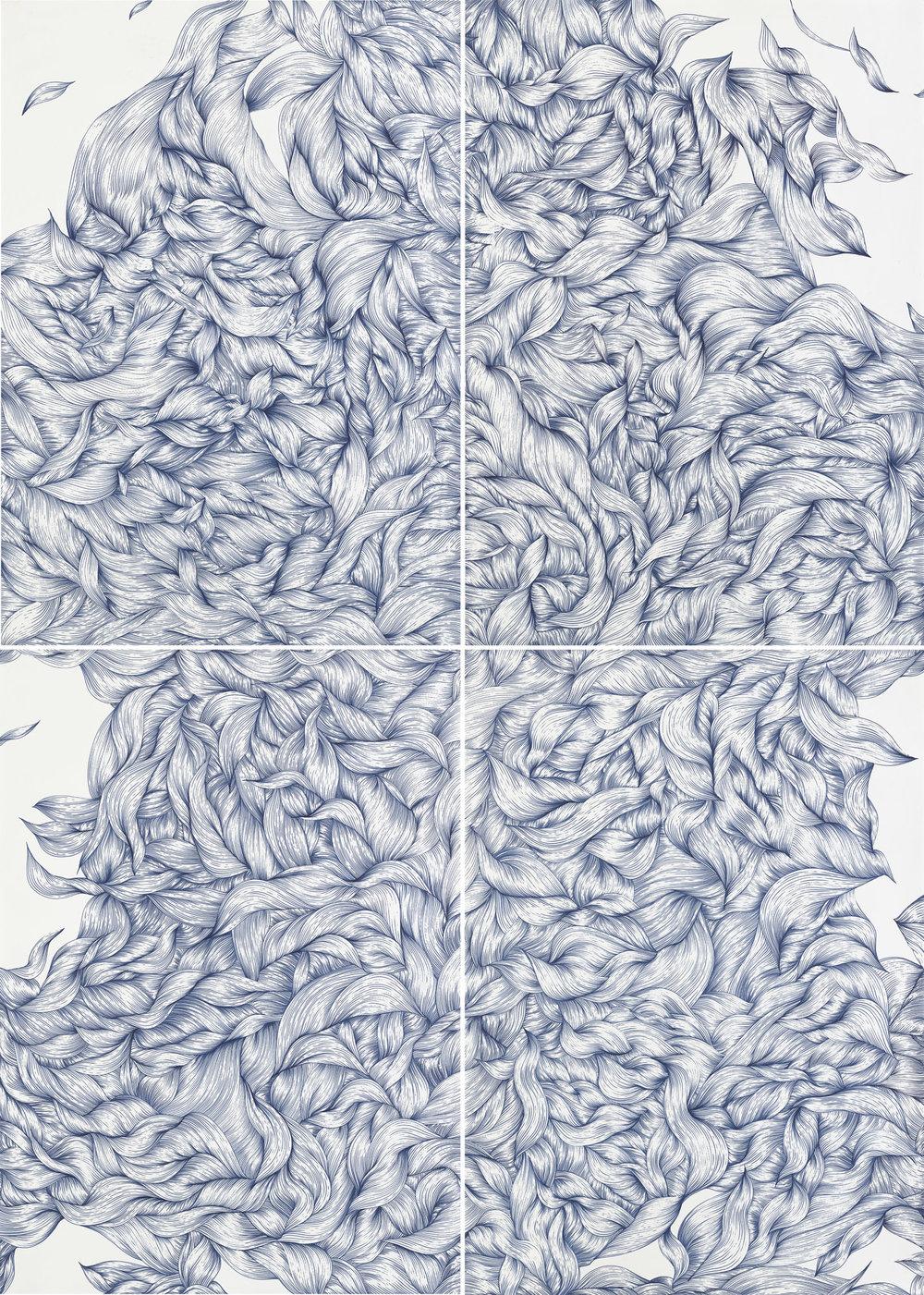 BK P18207 | UNTITLED | 280 X 200CM | BLUE INK ON PAPER | 2017