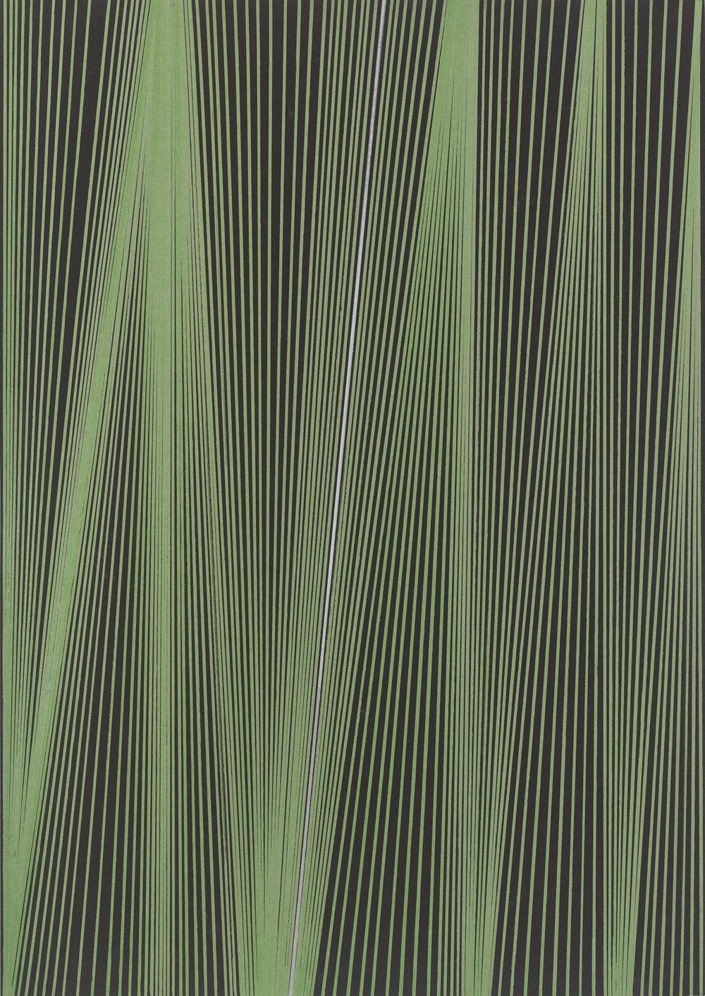 BK P44961 | UNTITLED | GREEN AND SILVER METALLIC ACRYLIC ON BLACK CARD BOARD | 42 X 29,7 CM | 2019.jpg