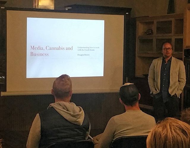 Learning some great tips from Doug Brown, PR expert and founder of @contacthighco, at @cultivatedsynergy in Denver tonight. #cannabis #marketing #pr