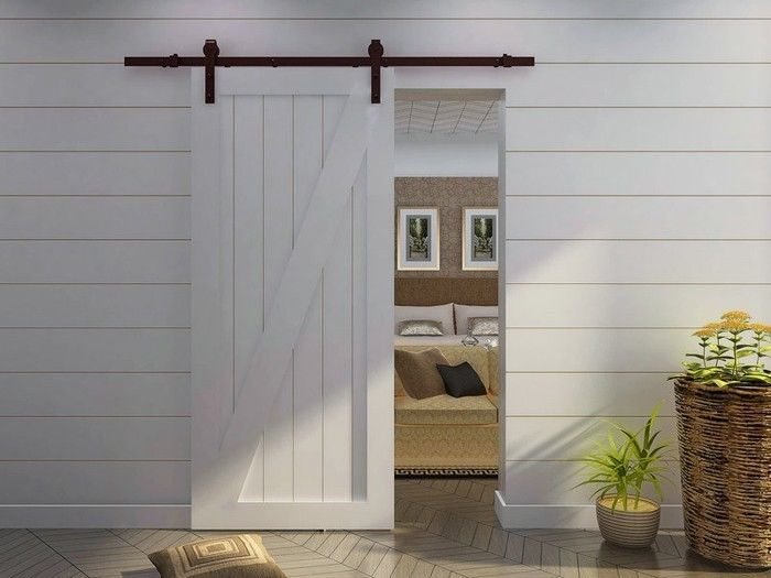 Awesome White Wood Barn Door