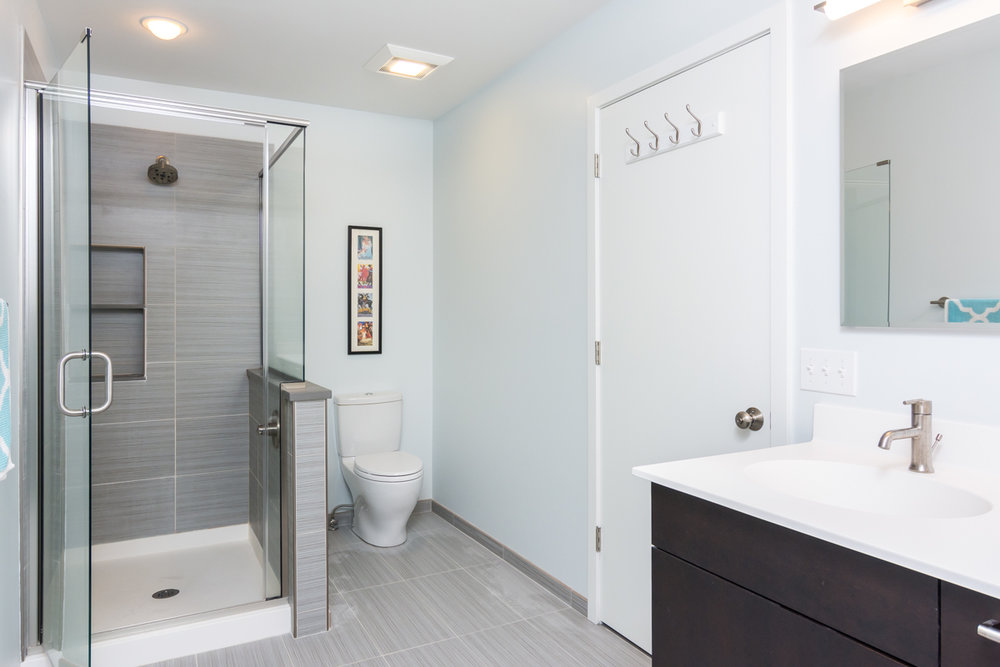 This full bathroom was part of a second-story addition project.
