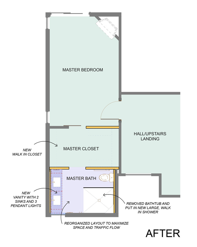 Master Bath Redesigned Floor Plan