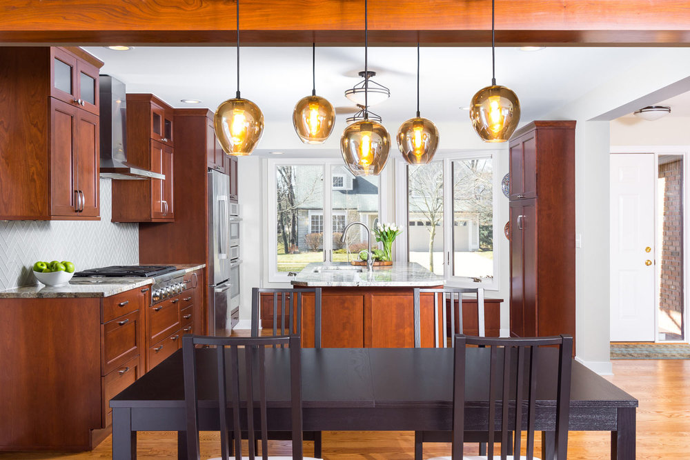 Ann Sacks backsplash Tile and Shaker Cabinets in Walnut