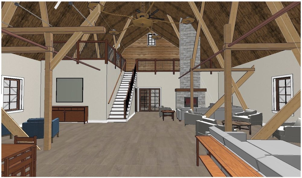 Design Rendering: Fireplace and Loft