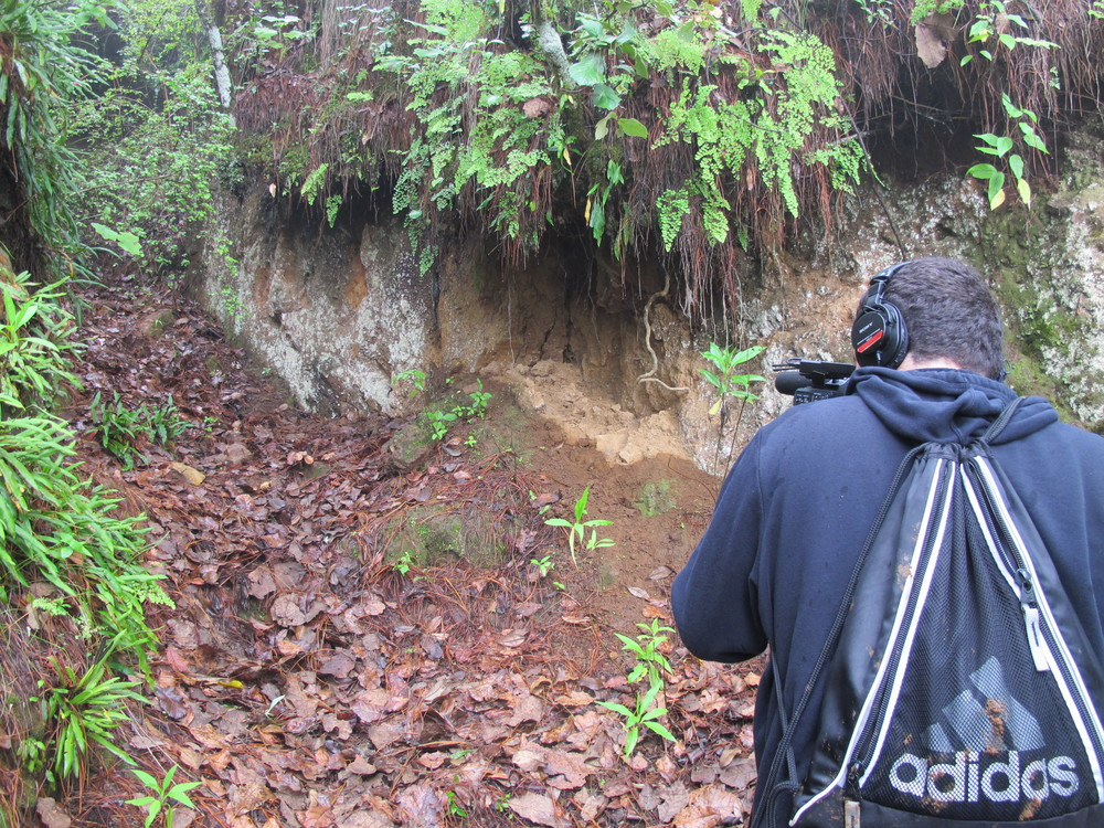 Jacob Jimenez filming at the place where Kelly was found dead in the mountains of Quetzaltenango.