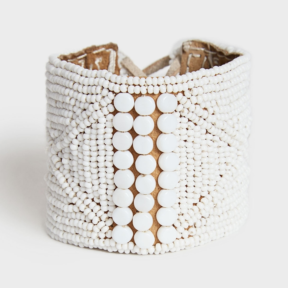 Sidai Designs at DARA Artisans - White Bead Leather Cuff Bracelet $95