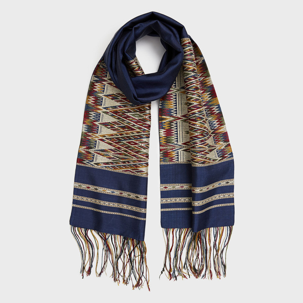Navy Intertwining Nagas Scarf