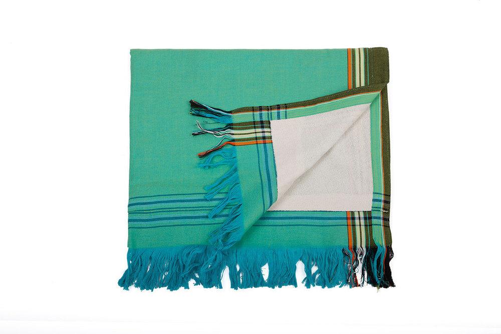 Aquamarine & Ivory Sarong Towel, Kenya