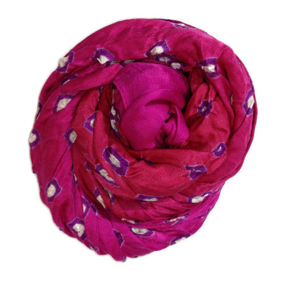 Bandhani Scarf, Two-Tone Pink