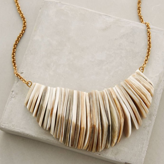 Architectural carved horn statement necklace