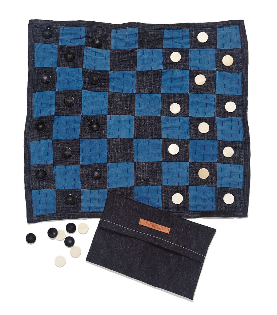 Indigo Checkers Board