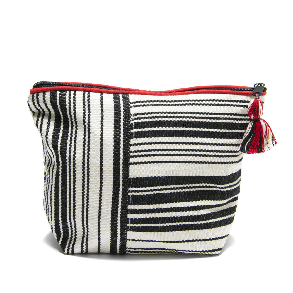 Striped Black & White Cosmetic Bag