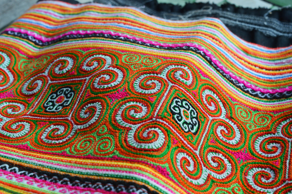 Orange Flower Hmong Weave