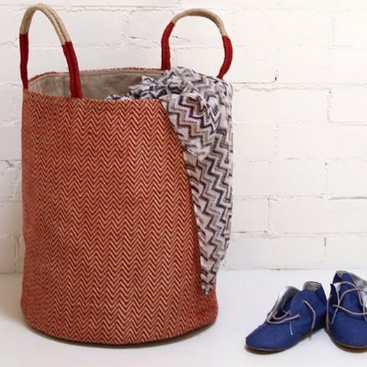 THE DHARMA DOOR  USA   @thedharmadoorusa    Red Herringbone Loomed Basket