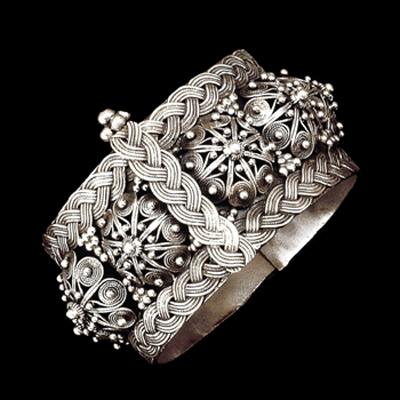 Silver filigree cuff