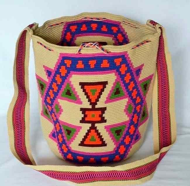 Beige Macuira Wayuu Mochila Bag