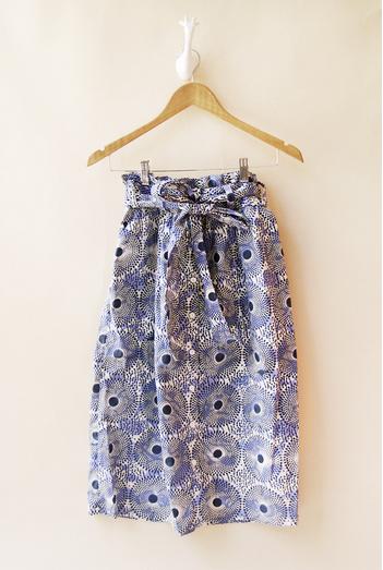Indego Africa print paper bag midi skirt handmade artisan batik Rwanda