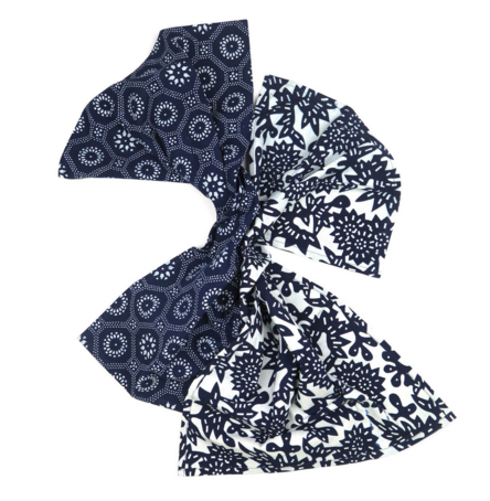 Indigo Flower & Honeycomb Tea Towel Set