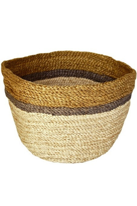 Jute Bowl — Natural with Gold & Charcoal Trim
