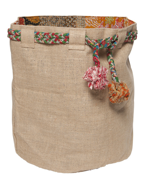 Hessian Sack with Sari Pom Poms