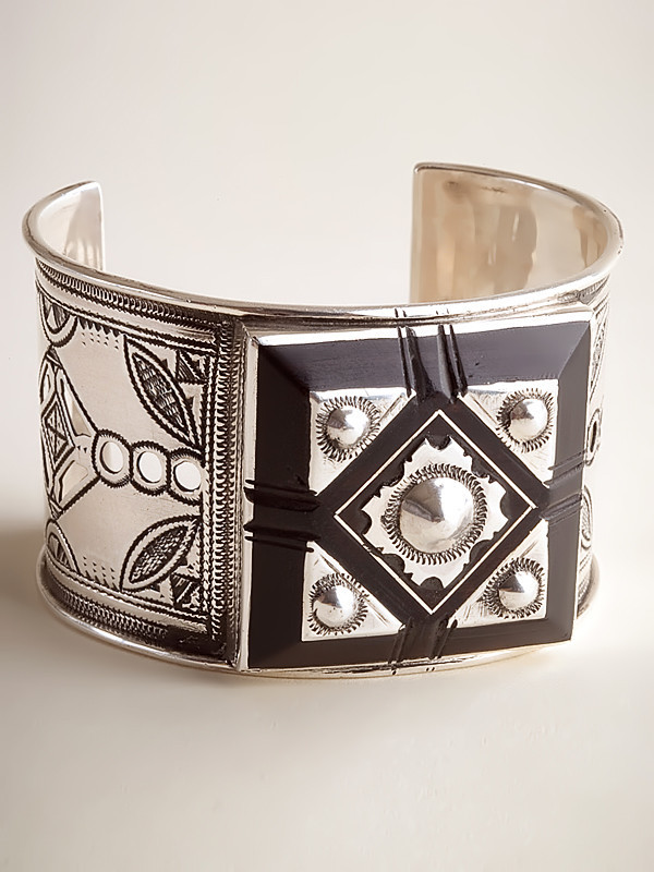 Bold Silver and Ebony Bracelet