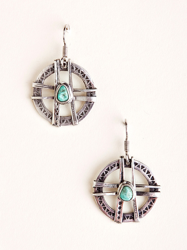 Silver and Turquoise Ladder Earrings