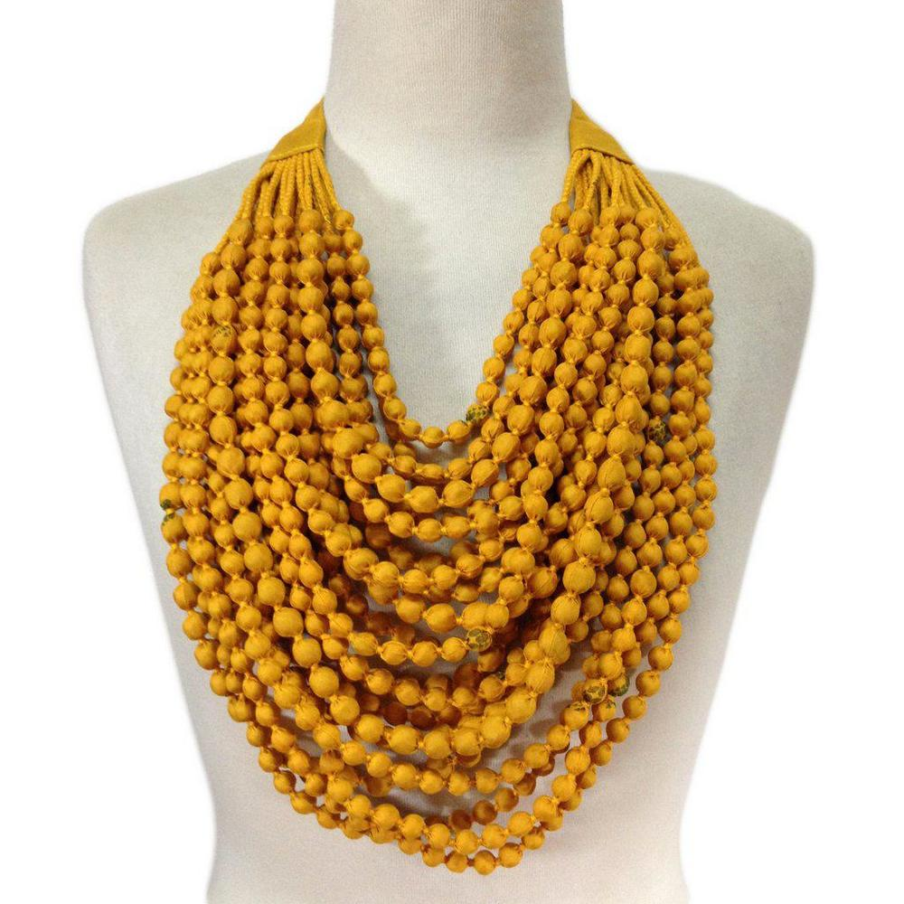 Sari Bead Necklace in Canary Yellow