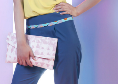 Ida Clutch Bag in Pink Batik