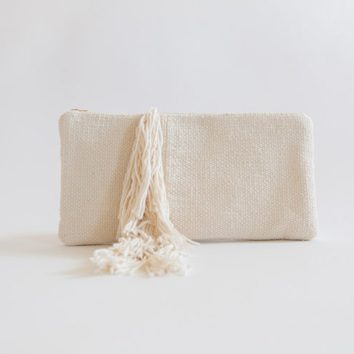 White Fringe Clutch