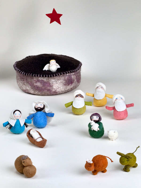 12-Piece Felt Yurt Nativity Scene