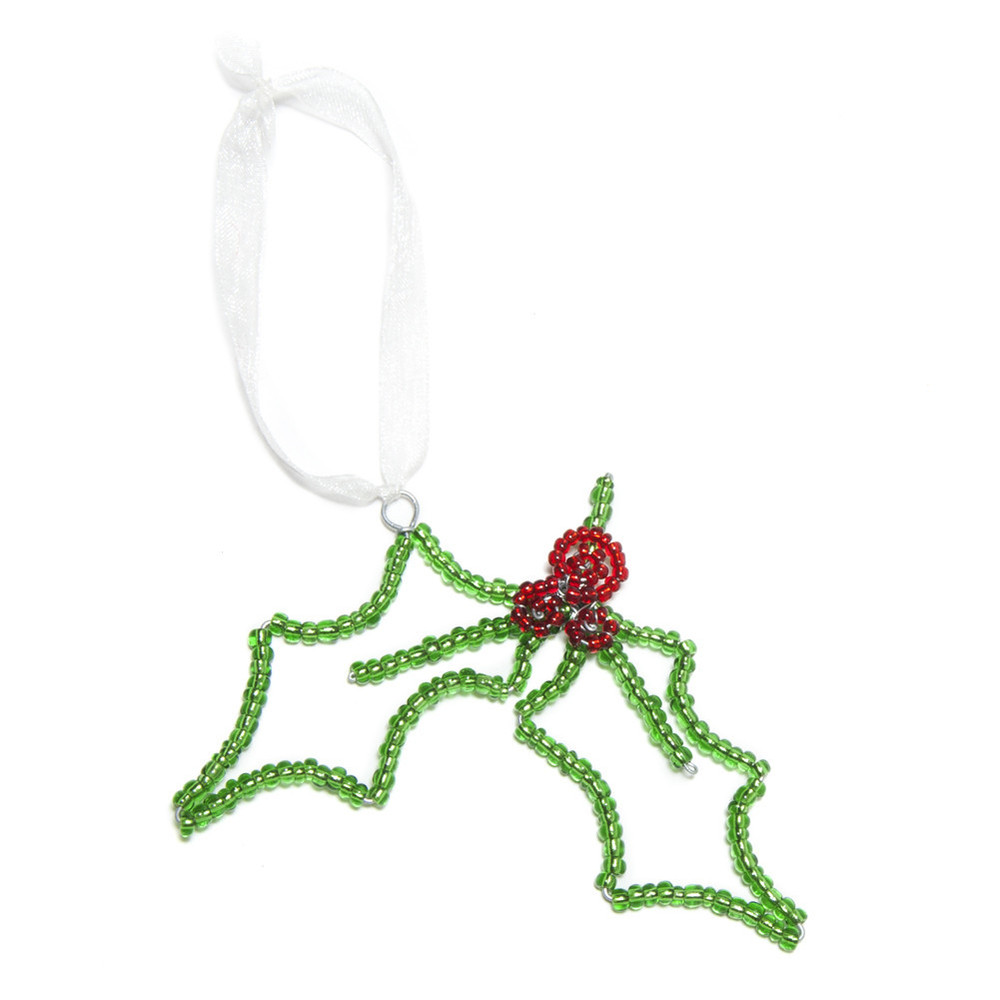 Beaded Mistletoe Holiday Ornament