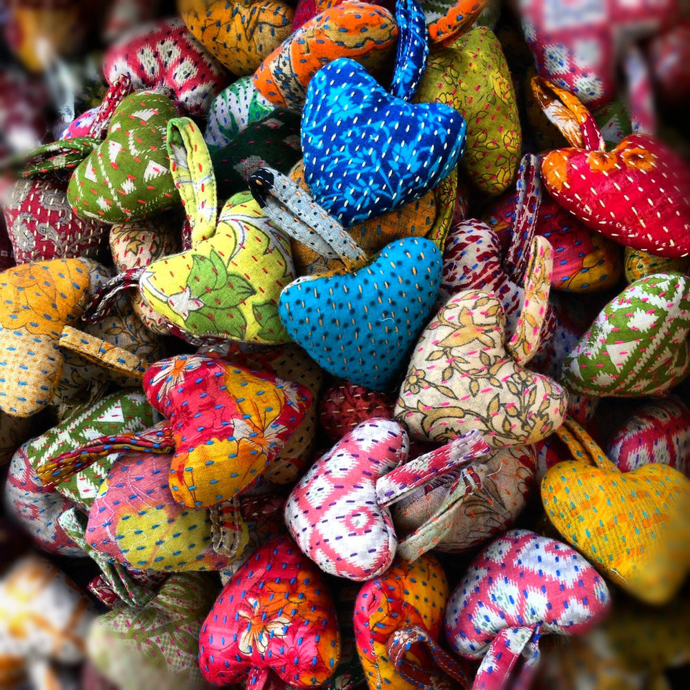 Sari Hearts with Kantha Stitching